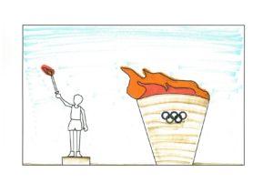オリンピック 聖火台とスタジアム